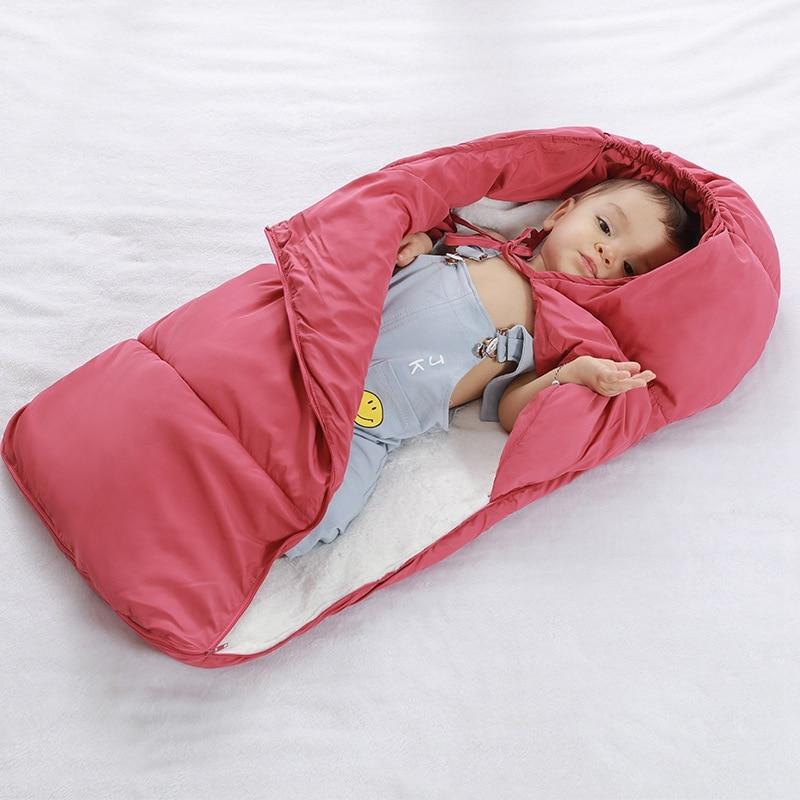 Baby Sleeping Bag Winter Infant Fleece Stroller Sleeping Bag Warm Sleep Sacks Robe For Infant Wheelchair Envelopes Newborn Wrap цена