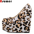 women pumps wedges high heels shoes Leopard 15cm heel casual shoes ladies club prom shoes euro size 34-43