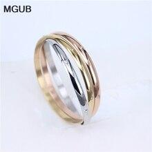 MGUB 3-en-uno de pulsera de acero inoxidable clásico cristal 3-color de la joyería brillante para el precio al por mayor para vender el regalo LH362