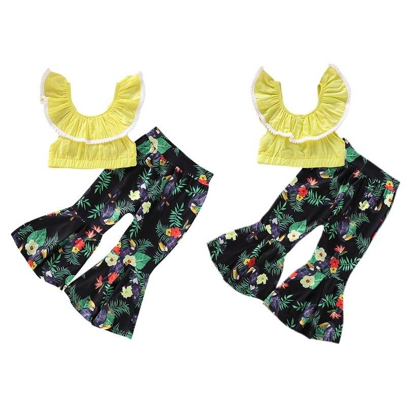 2 pçs/set Meninas Do Bebê Verão Casual Off-ombro Alargamento da Luva T-shirt Tops + Calças Florais Ternos Set Traje
