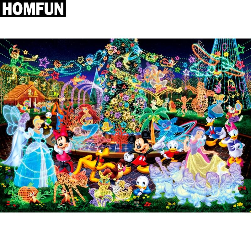 HOMFUN Full Square/Round Drill 5D DIY Diamond Painting Cartoon character Embroidery Cross Stitch Mosaic Rhinestone Home Decor