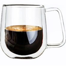 Double Wall Glass  Mugs 250ml High Quality Fashion Cups With Handle For Tea Milk Coffee