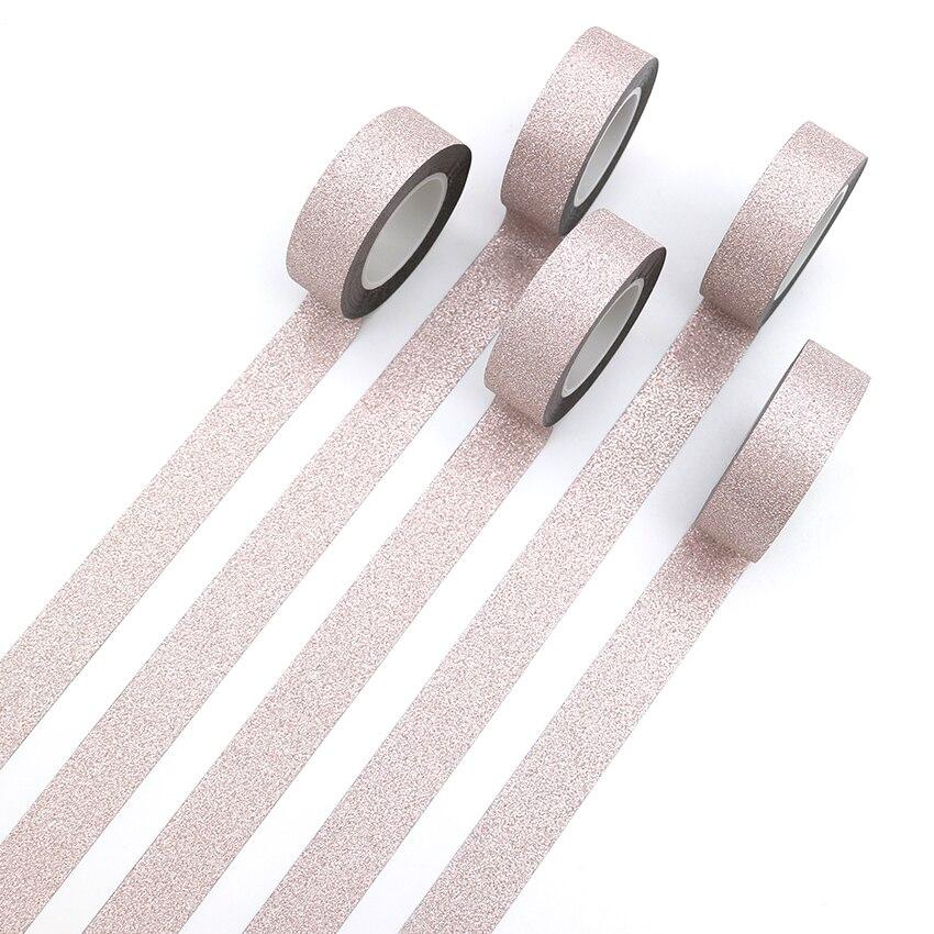 1 PCS Creative Light Pink Washi Tape Glitter Flash Stickers DIY Album Decoration Adhesive Hand Account Paper Tape Masking Tape