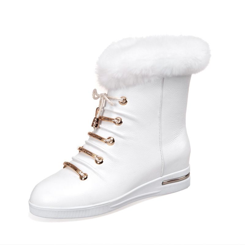 Women Winter Genuine Leather Lace Up Height Increase Elevator Round Toe Rabbit Fur Fashion Ankle Boots Size 34-39 SXQ0818 front lace up casual ankle boots autumn vintage brown new booties flat genuine leather suede shoes round toe fall female fashion