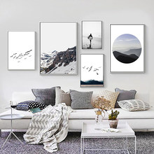 Nordic Fog Mountain Landscape Pictures Wall Art Flying Birds Canvas Painting Posters And Prints Decoration For Living Room Decor(China)