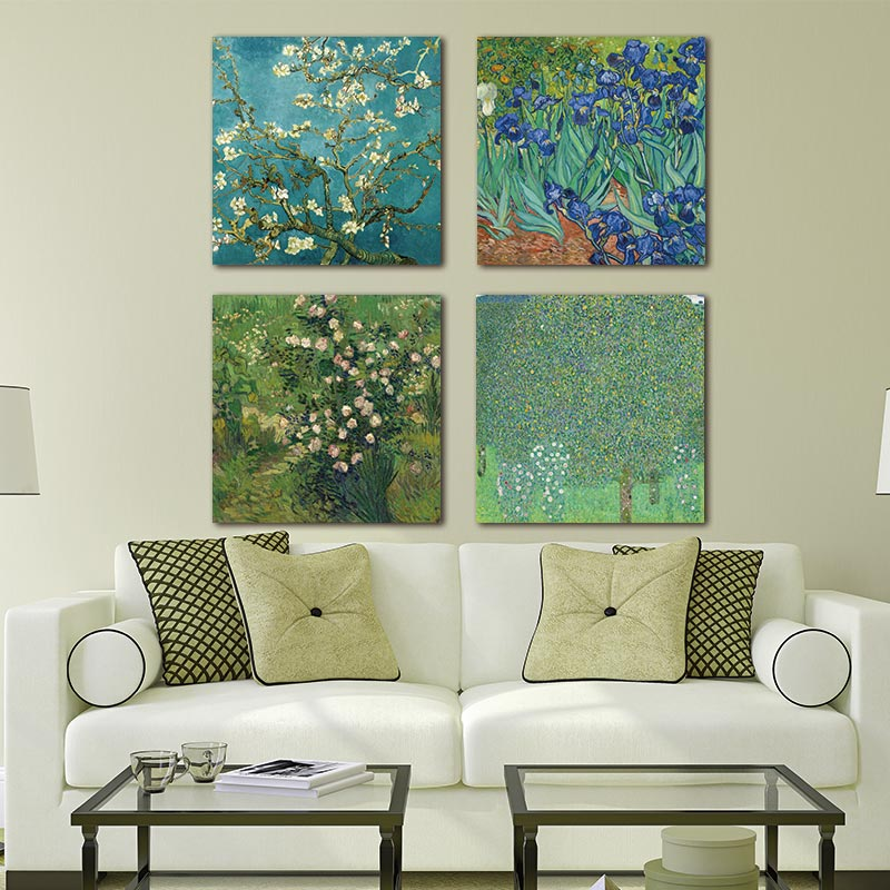4Pcs/Sets Huge Modern Wall Art Home Decor Giclee Paintings Artwork Almond Blossom And Irises By Vincent Van Gogh Oil Paintings