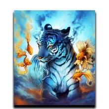 Алмазная 5d Вышивка красочное питье tiger картина с животными