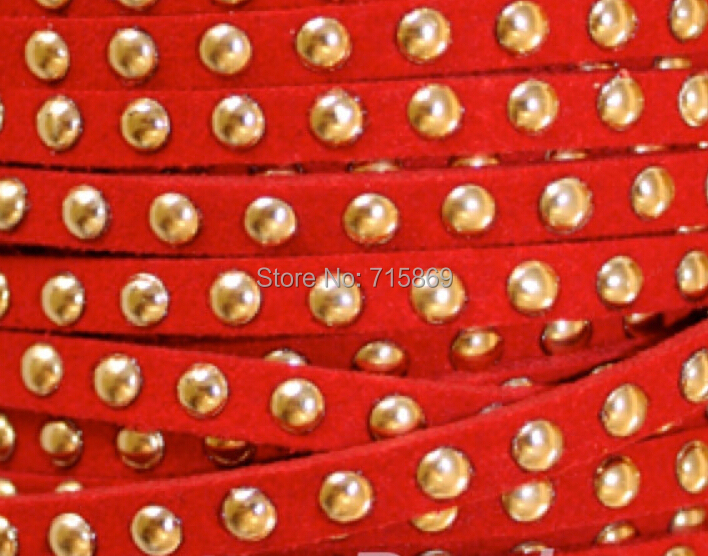 Free Ship 100 Meters Red 5 x1.5mm Microfiber Flat Faux Suede Leather Lace Cord w/ Gold Rivet Accents