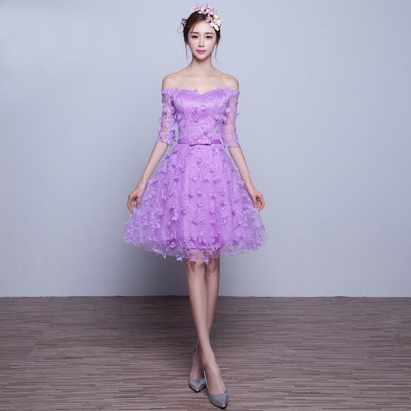 Increíble Vestido De La Dama De Honor Púrpura De La Manga Molde ...
