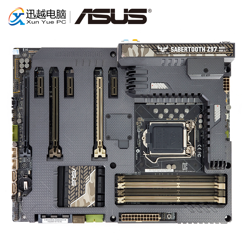 Asus SABERTOOTH Z97 MARK 1/USB3.1 Desktop Motherboard Z97 Socket LGA 1150 i7 i5 i3 DDR3 32G USB3.1 HDMI DP ATX asus z97 a usb3 1 original used desktop motherboard z97 a usb3 1 z97 socket lga 1150 i7 i5 i3 ddr3 32g sata3 usb3 0 atx