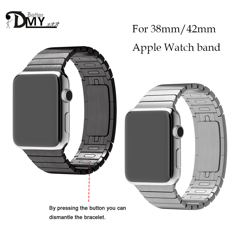 Black/silver color Link Bracelet Arc Clasp 316L stainless steel Watchband For Apple watch Band Luxury For iWatch Band 42mm от Aliexpress INT