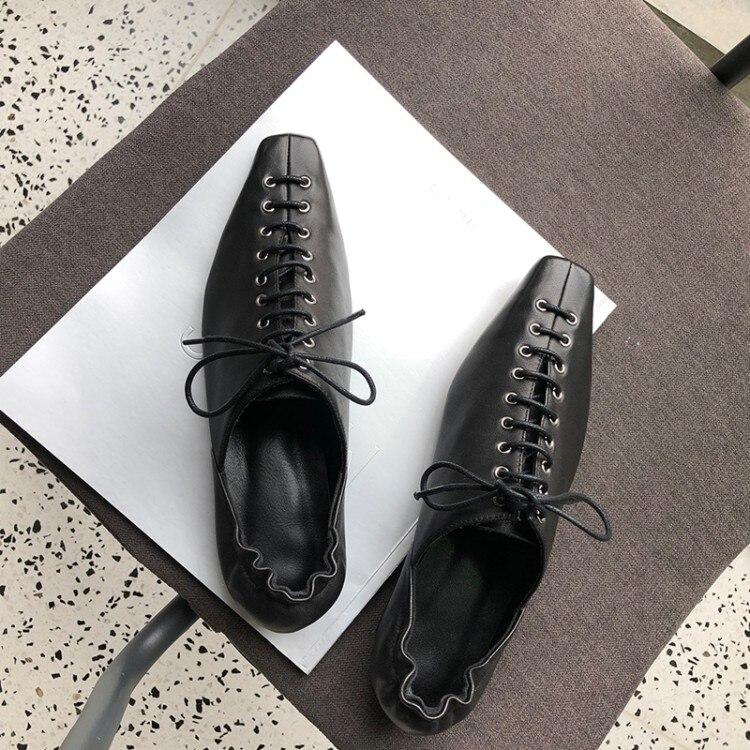 2019 Loisirs Plat Carré Chaussures Mouton Vintage Femmes En Bout Lacent noir Beige De Cuir wwqPxfrp