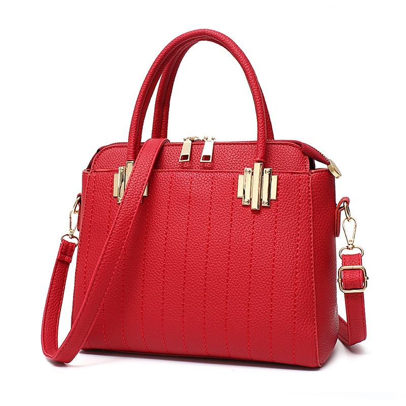 ФОТО High quality pu hardware woman handbag. Free shipping 2017 new solid color business shoulder bag. Fashion solid color bag.