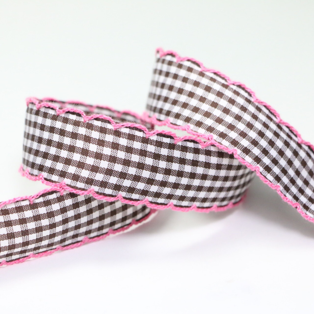 zd201 Wholesale Width 25MM Craft Fabric Tape Weave Edge font b Tartan b font Ribbon for