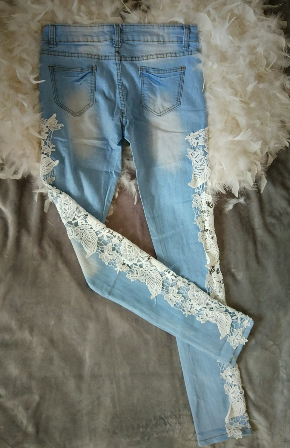 Women jeans patchwork lace floral 2