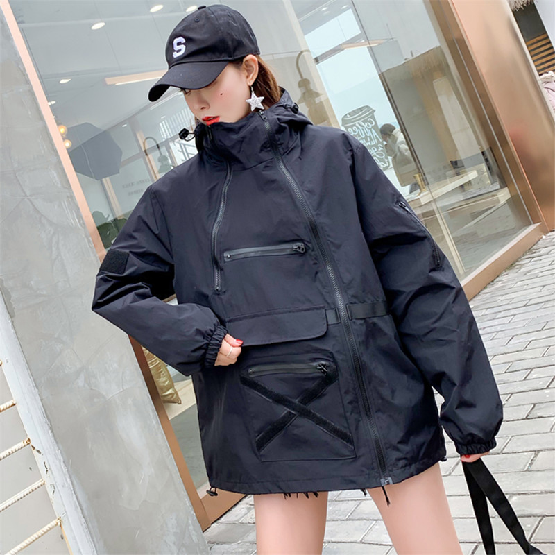 2019 Fashion Spring Autumn Hooded Harajuku Coat Female Loose Streetwear   Basic     Jacket   For Women Casual Black Zippers Windbreaker