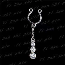 1 Pair Punk Dangle Steel Clip On Non-Piercing Fake