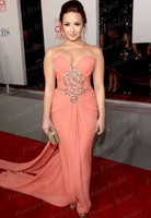 Free Shipping Fishtail Sweetheart Demi Lovato Peach Chiffon Celebrity Dresses 2012 People Choice Awards Red Carpet