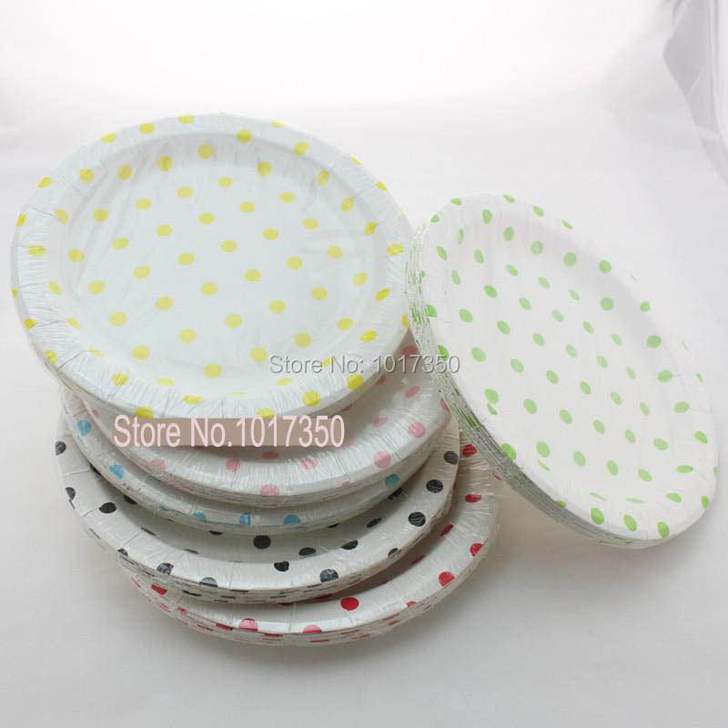 birthday decoration round polka dot paper plates 9inch mix colors party dishes halloween wedding party supplies dessert plate