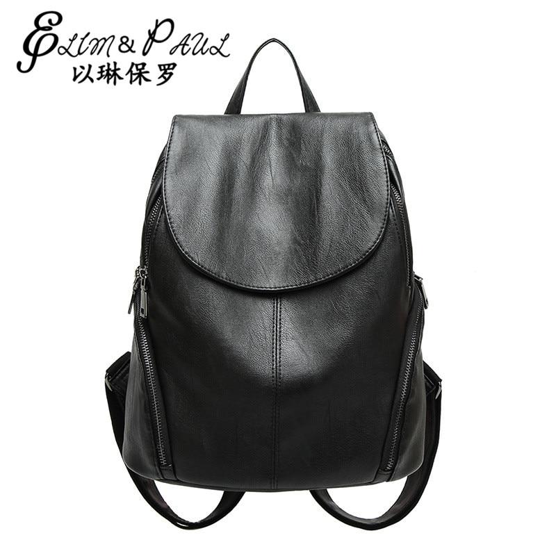 2017 Hot New Casual Women pack Female PU Leather Women s Backpacks Bagpack Bags Girls Casual