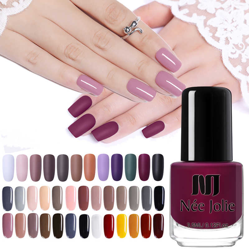 NEE JOLIE Nail Polish Fast Dry Nail Art Polish Varnich Gray  Coffee Series Glitter DIY Nails Lacquer  3.5ml