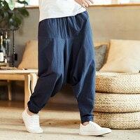 Cotton Linen Cross Pants Japanese Harajuku Loose Joggers Trousers Hip Hop Harem Pants Wide Leg Baggy Pants Big Size XZ220 2 K18