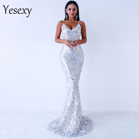 Yesexy 2019 Women Sexy Off Shoulder Sequin Dresses Female Backless Maxi Elegant Party Dress Vestdios VR9314