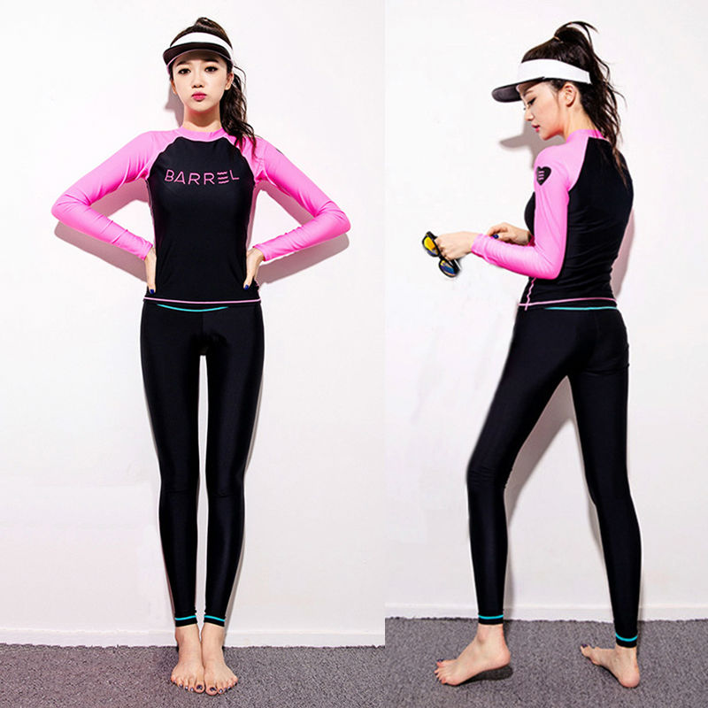 3a21a7de37 PowerPai 2016 BARREL Korea Long Sleeve Diving Wetsuit Women Two Piece  Triathlon Scuba Surf Diving Suit Rashguard Top Pants-in Wetsuit from Sports  ...