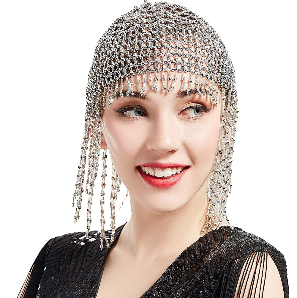 1920s Beaded Cap Headpiece Roaring 20s Beaded Flapper Headpiece Belly Dance Cap Exotic Cleopatra Headpiece for Gatsby Themed Party (Silver)  (6)
