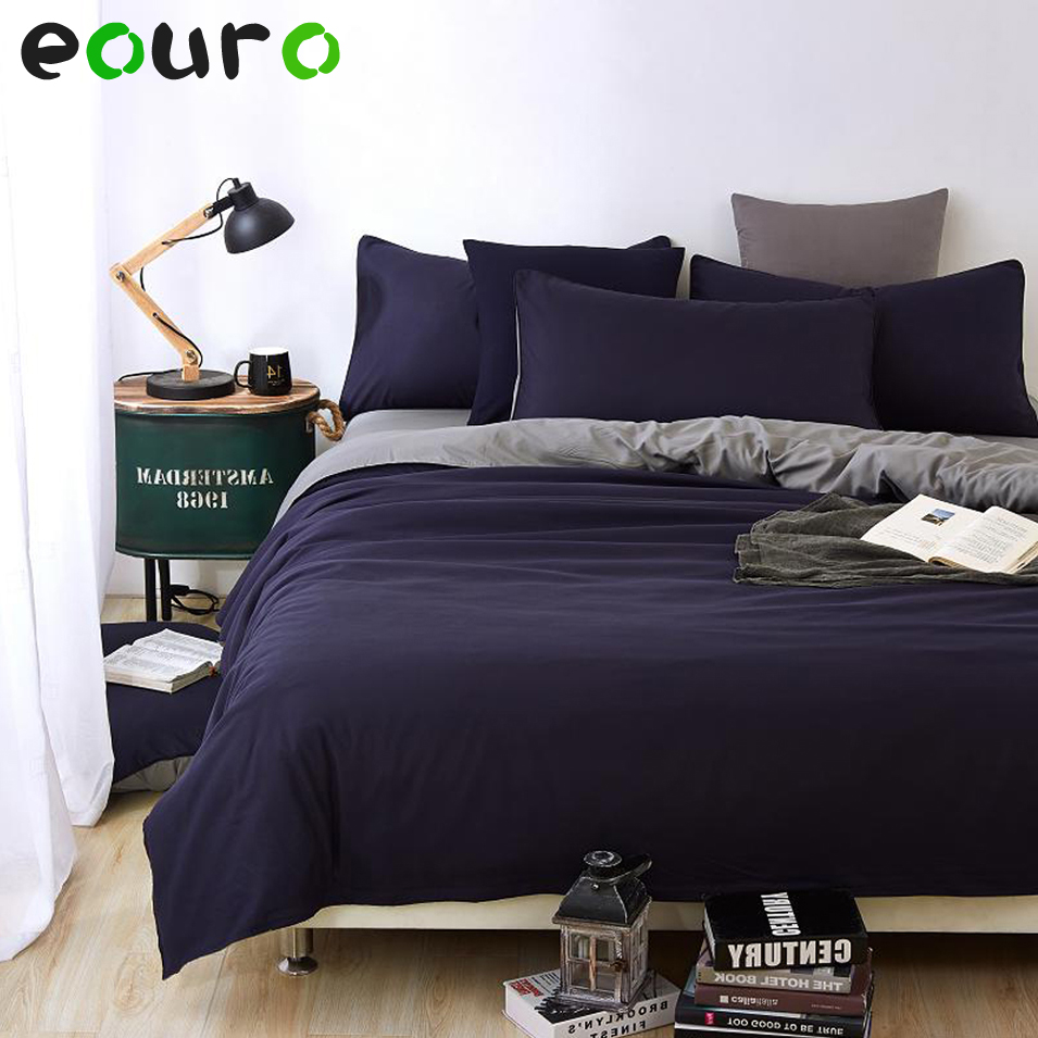 Solid dark purple bedding - Full Size Fashion Dark Blue Solid Color Home Bedding Sets Duvet Cover Bed Sheet Pillowcases