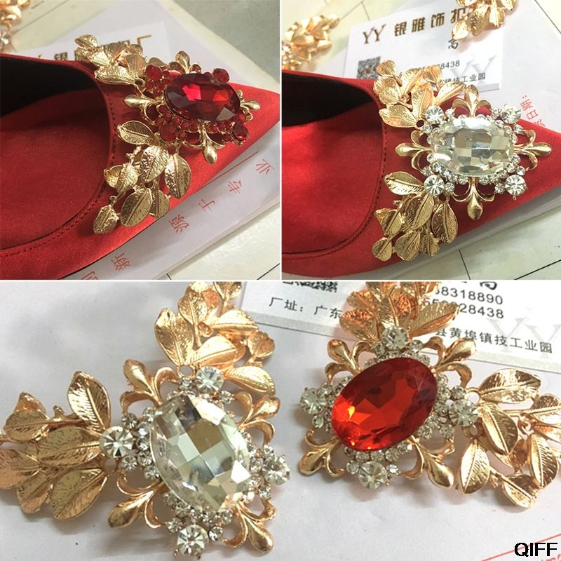 2 Pcs/Set Shoe Clip Large Rhinestone Red White Glittering Exquisite Luxury Clips Wedding High Heel Decoration Buckle