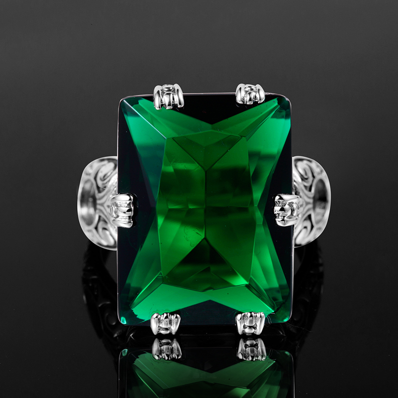 Image 5 - Szjinao Emerald Ring 4.8ct Green Vintage 925 Sterling Silver 