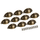 10pcs Vintage Style Cup Shell Drawer Pull Handle Bronze Tone Cabinet Wardrobe Pull Handle Knobs furniture Hardware handle