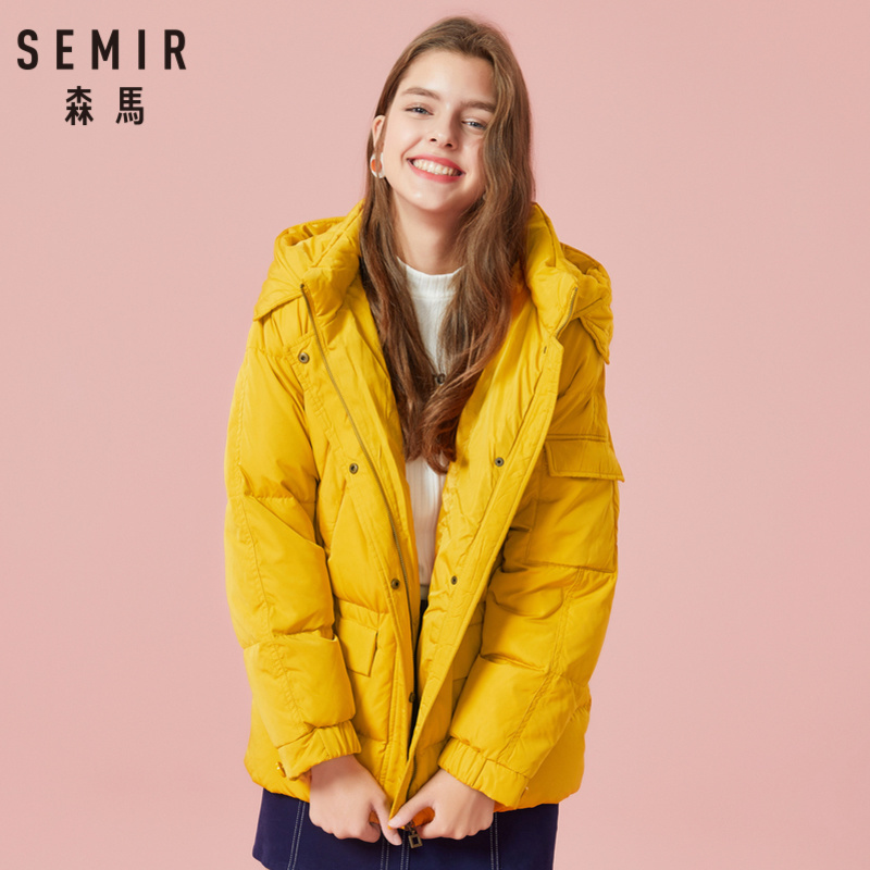 SEMIR Women Long Hooded Down Jacket With Pocket Zip And Snap Closure Down Filling Stand-up Collar Padded Jacket With Lined Hood
