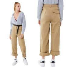 New spring hot casual pocket women's pants high waist women's jeans sexy wide leg pants loose hip hop female nine points jeans tie waist pocket wide leg jeans
