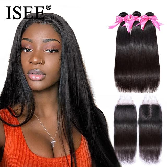 Paquetes de pelo lacio con cierre ISEE cabello Remy cabello humano paquetes con cierre brasileño cabello tejido paquetes con cierre