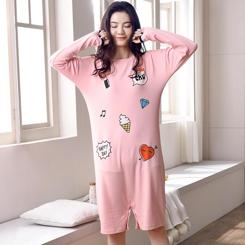 New Arrivals 100% Cotton Nightgown Women Lounge Dress Nightdress ...