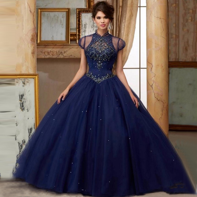 Aliexpress.com : Buy Sparkle Navy Blue Quinceanera Dresses 2017 ...