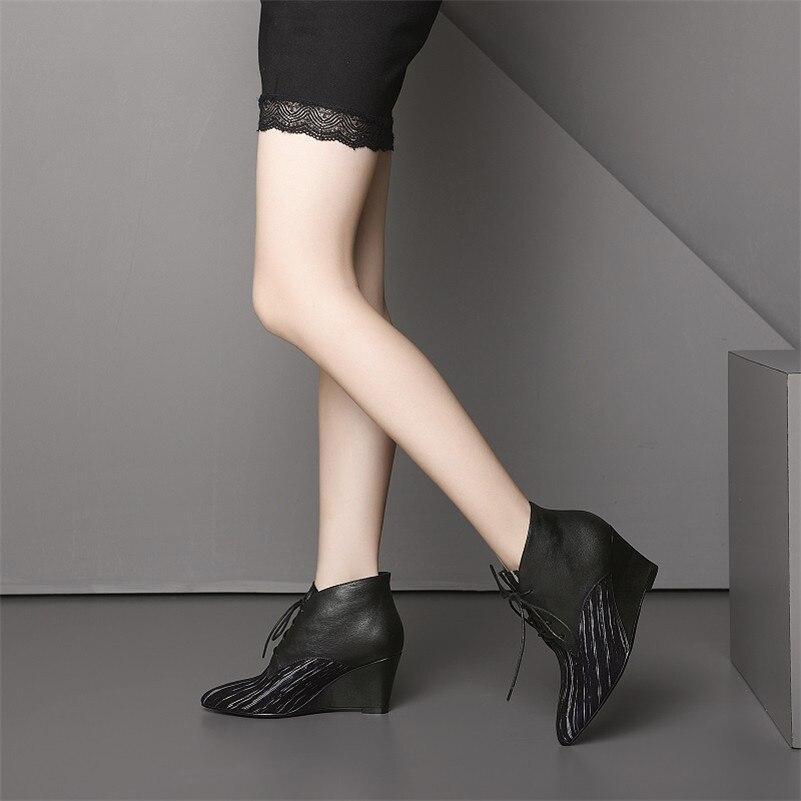 5e63b4db Altos Martin Negro Tobillo Tacones Conasco Mujer Cuero Zapatos Mujeres  Nueva Bombas Elegante Calidad Botas Cuñas Genuino Oficina Cordones ZZgUqAn