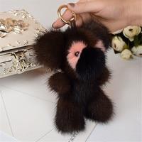 2017 Genuine mink fashion Keychain Soft Fur Bear keychain bag Pendant gift car pendant car accessories charms