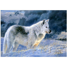 DIY 5D diamond painting animal white wolf cross stitch mosaic diamond embroidery rhinestone decoration craft стоимость