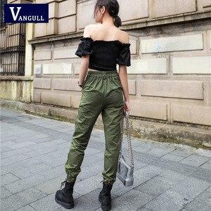 Image 3 - Vangull calças de cintura Alta Novas soltos corredores harem das mulheres do exército calças cargo camo calças streetwear do punk preto mulheres calças capris