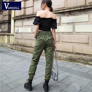 Image 3 - Vangull גבוהה מותניים מכנסיים חדש רופף רצים נשים צבא הרמון camo מכנסיים streetwear פאנק שחור מטען מכנסיים נשים capris מכנסיים