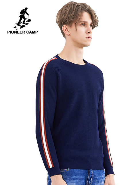 Pioneer camp new warm sweater men brand clothing fashion patchwork sweater male winter quality 100% cotton pullover AMS802337