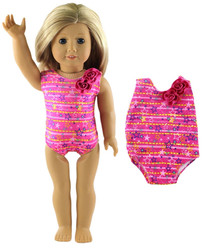 2017 New Style Pink Swimsuit Swimwear Outfit For 18 Inch American Doll