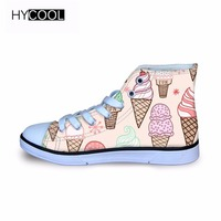 HYCOOL 2018 Kids Shoes Girls Boys Sneaker ICE CREAM pattern Lace Up High tops Children Walking Shoes Sport Running Child Shoes