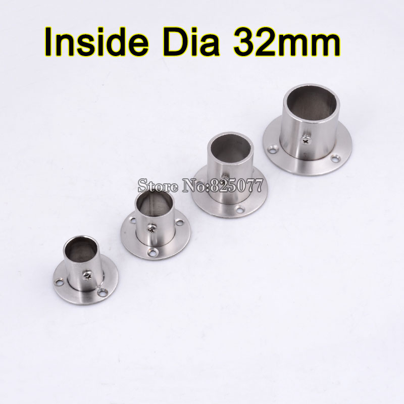 4 PCS Stainless Steel Flange Closet Rod Flange Socket Inside Dia 32mm Pole  Fixed Base Accessories