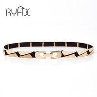Free Shipping Women Band Elastic Mirror Metal Waist Belt Leather Metallic Bling Gold Plate Thin Belt