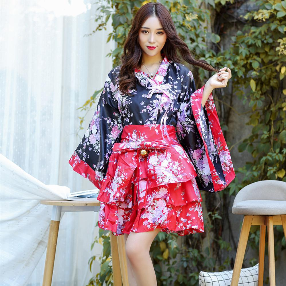 Women Sexy Geisha Satin Kimono Yukata With Obi Japanese Traditional Lady Cosplay Costume Elegant Performance Dance Dress M-XXL