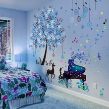 [SHIJUEHEZI] Piano Performance Girl Wall Stickers DIY Snow Forest Tree Deer Mural Decals for Kids Room Baby Bedroom Decoration